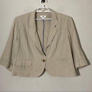 Cato Linen Blend Boxy Cropped Blazer Tan Sz 22/24